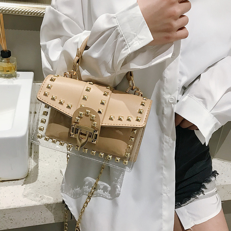 2019 Summer Transparent Jelly PVC Women Crossbody Bag Luxury Brand Rivet Shoulder Bag Metal Lock Beach Travel Chain Messenger Ba-in Shoulder Bags from Luggage & Bags