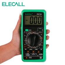 Elecall Цифровой мультиметр EM15A 2000 отсчетов ручной индивидуальные мультиметр ЖК-дисплей Дисплей AC/DC Ток Тестирование