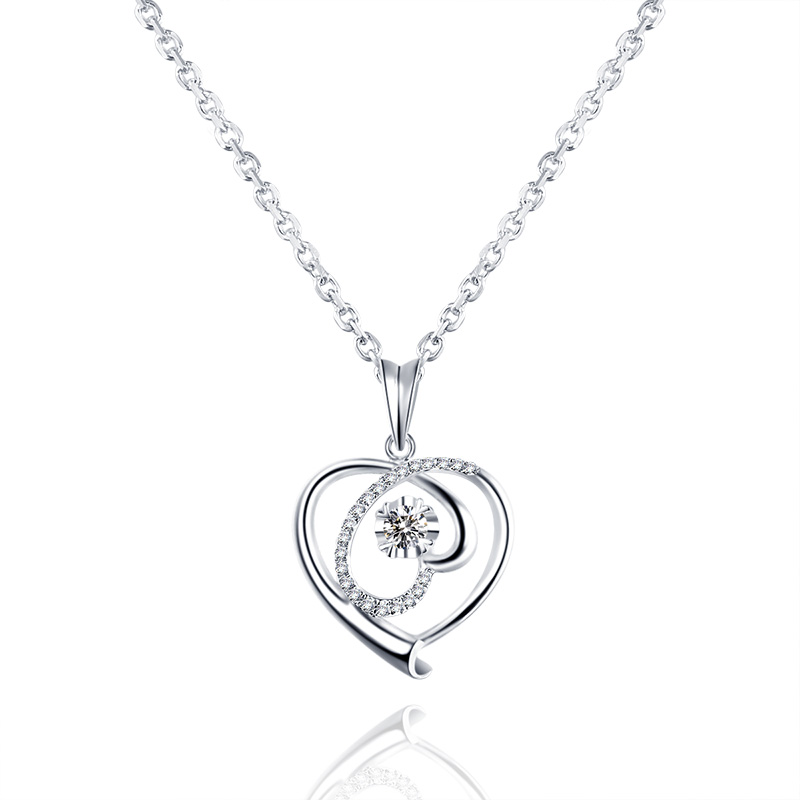 18K white gold Heart pendant with diamond pendant gold ball diamond necklace female genuine diamond bk 4371 18k alloy crystal artificial fancy color diamond pendant necklace golden 45cm