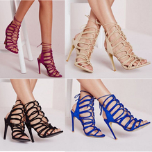 2016 New sexy lady summer genuine leather lace up strap hollow slingback high heel sandal coffee pink size 4-10 9 color