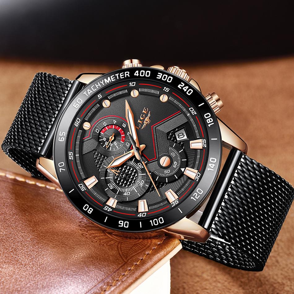 LIGE azul Casual malla Correa moda cuarzo oro reloj para hombre relojes marca superior reloj impermeable de lujo 15
