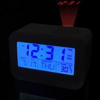 Electronic LCD Projector Alarm Clock Time Temperature Digital Display Desk Table Bedside Clocks Voice Talking Calendar T 2
