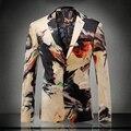 Europa y américa del estilo de moda chaqueta de terciopelo de los hombres blazer diseños de color bloqueado traje homme ropa hombre sze m-3xl/XF40-12