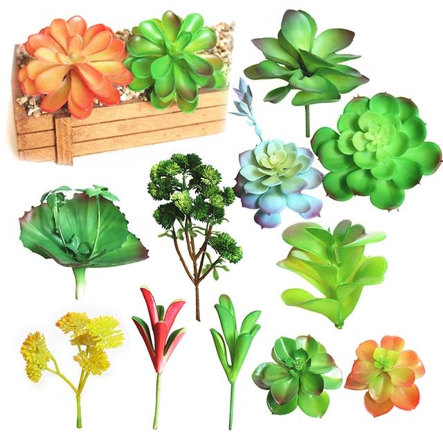 Mini Fake Succulents Plants Aloe Artificial Succulent Plants Landscape  Arrangement Stems Flowers Ornaments For Home Garden