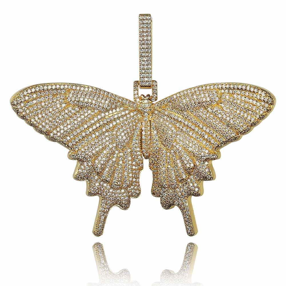 Image 2 - JINAO New Iced Out Insect Multicolor Butterfly Pendants&Necklaces Micro Pave Cuban Zircon Stone Pendant Necklace Hip Hop Gift-in Pendant Necklaces from Jewelry & Accessories
