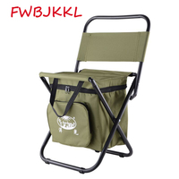 2018 Hot Outdoor Steel Folding Beach Chair Backrest Fishing Stool Multifunctional Mountain Camping Leisure Ice Bag Chair