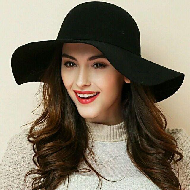 13570e05a4e (13 Colors)High Quality 100% Wool Fashion New Vintage Women Ladies Floppy  Wide Brim Wool Felt Fedora Cloche Hat Cap