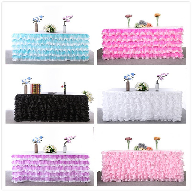 2016 NEW Customized Wedding Tulle Tutu Table Skirt Decoration Party Table 80x273cm 3 yards