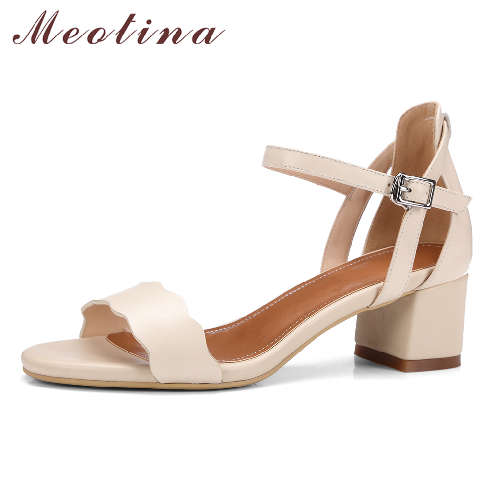 Womens sandals size 13 - Meotina Women Sandals Summer Genuine Leather Shoes Thick Mid Heel Sandals Causal Shoes Ankle Strap Sandals Gray Large Size 41 42