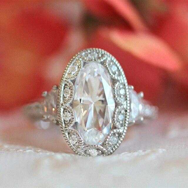 S925 anillo Para Las Mujeres de 5 QUILATES Corte Brillante Diamante Simulado de Compromiso Anillos de Bodas de plata de ley con oro Arte Diciembre bague