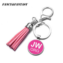 "Fancy&Fantasy JW .Org Charm Keychain ""No BLOOD"" Tassel Key chain Jehovah's Witnesses Pendant Glass Photo Cabochon Key Ring Gift(China)"
