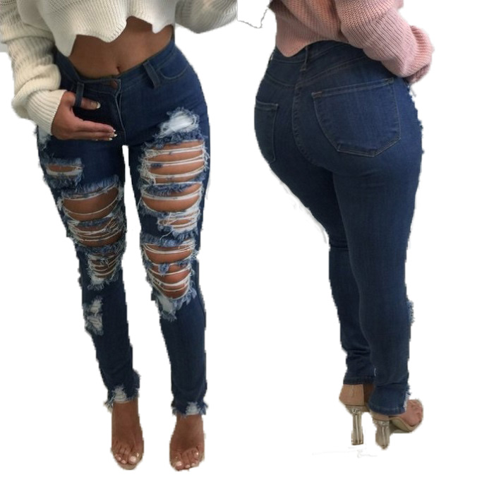2017 Summer Fashion Jeans Women Sexy Ripped Big Hole Denim Jeans For Women Pencil Pants Jean Femme Trousers