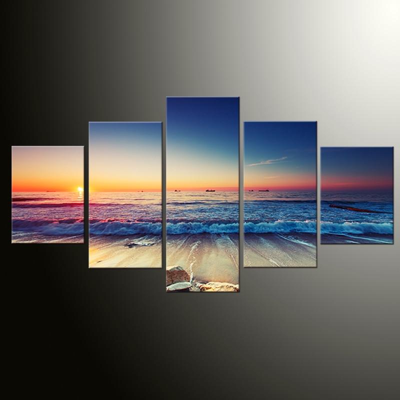 5 panel plakatlar çap kətan dəniz mənzərəsi gün batımı - Ev dekoru - Fotoqrafiya 1