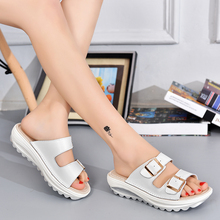 2017 new summer sandals women female fish mouth wedge sandals leather thick soled shoes slippers female muffin beach wholesale