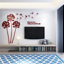 3D HD Sticker Dandelion Acrylic Mirror Wall Decor Sticker