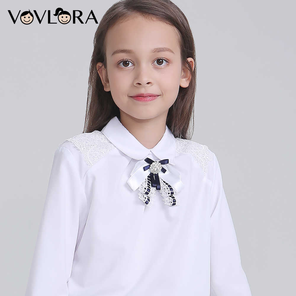 95dd780a51e96 Vovlora White Girls Shirts Long Sleeve School Kids Blouse Lace Autumn  Casual Children Clothes 2018 Size 9 10 11 12 13 14 Year