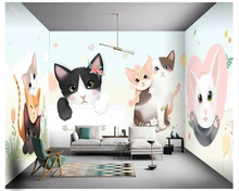 beibehang Modern personality cute animal wall paper kitty house full background custom space papel de parede 3d wallpaper tapety