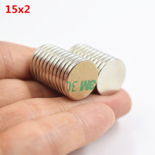 10pcs Neodymium Magnet 15x2mm N35 Small Round Super Strong Powerful Rare Earth NDFEB fridge speaker magnetic WITH 3M Gule15*2mm