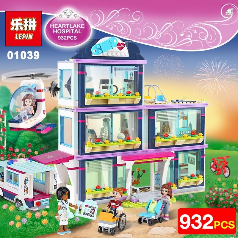 Lepin 01039 Friends Girls Series 932pcs Building Blocks toys Heartlake Hospital kids Bricks girl birthday gifts Compatible 41318