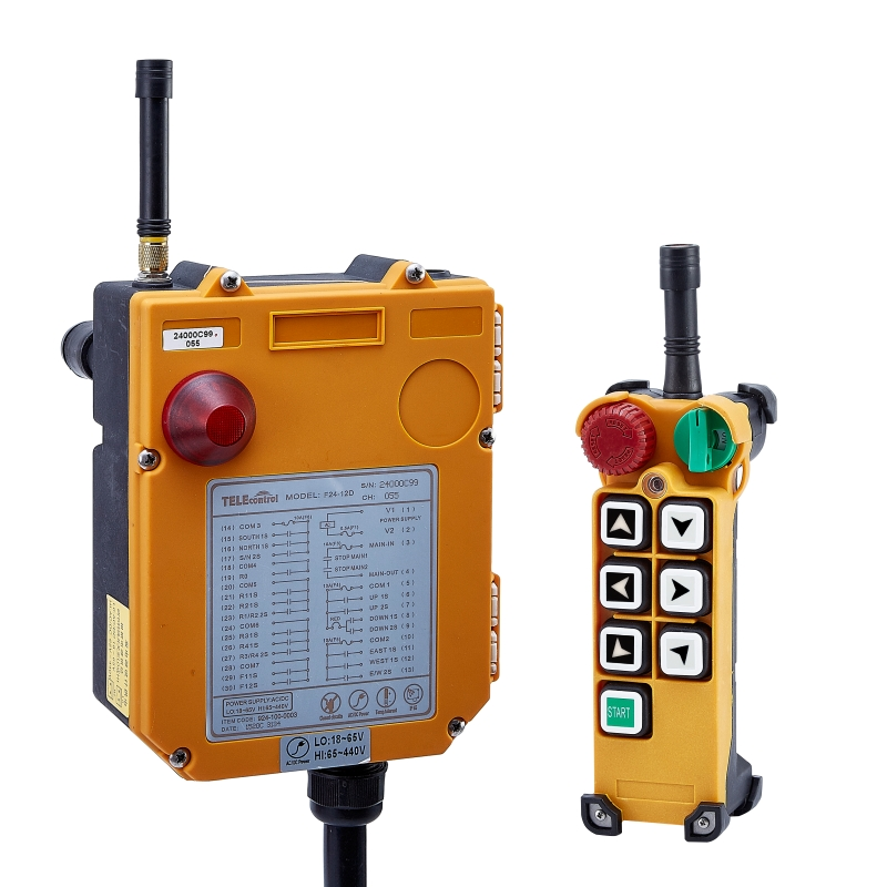 Telecontrol F24-6S 6 Single speed buttons Industrial wireless radio remote control for crane and hoistTelecontrol F24-6S 6 Single speed buttons Industrial wireless radio remote control for crane and hoist