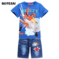 New 2017 Retail Children Set Cartoon DUSTY PLANE fashion suit boys jeans sets t-shirt+pant 2pcs Kids Clothing