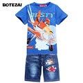 Novo 2017 Retail Crianças Definir Caricatura AVIÃO EMPOEIRADO moda terno jeans meninos define t-shirt + pant 2 pcs Roupa de crianças