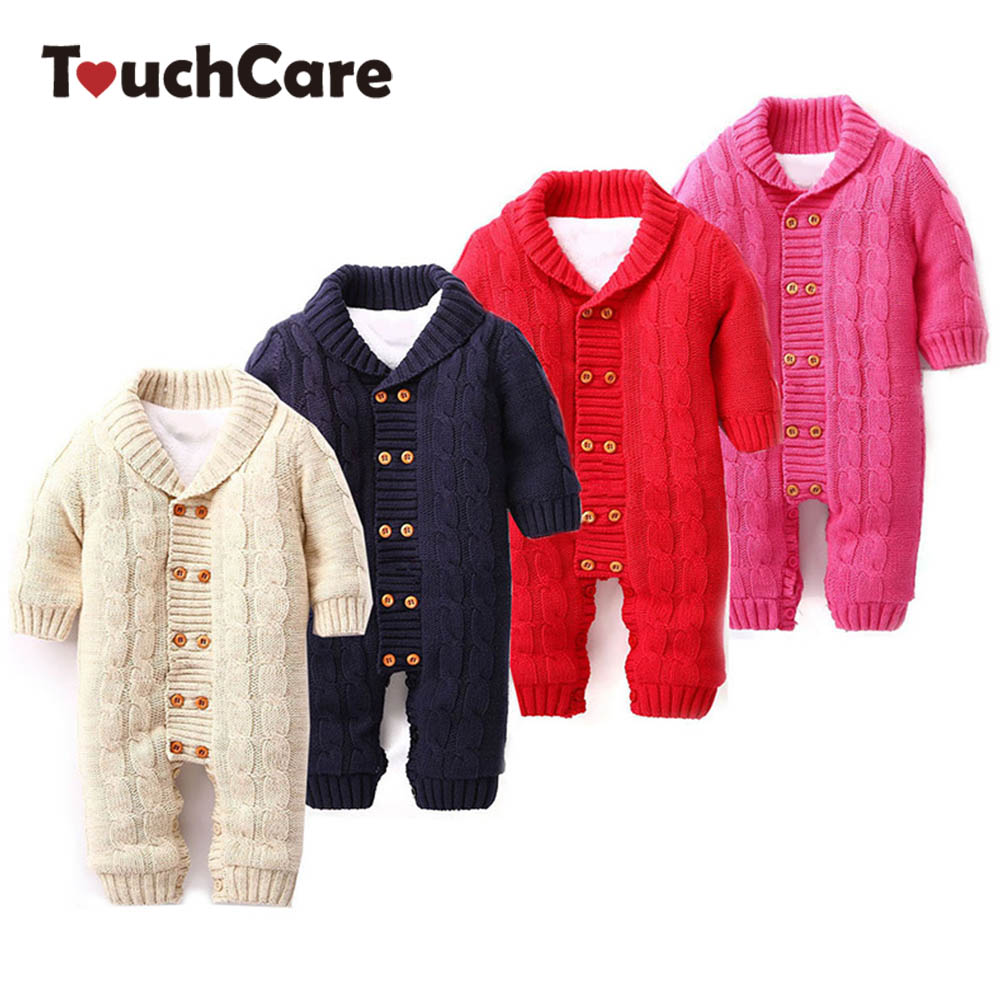 Baby Rompers Infant Thick Cotton Jumpsuit Newborn Solid Long Sleeve Overalls Ropa Bebes Toddler Sweater Baby Girl Boy Clothes baby overalls long sleeve rompers clothing cotton dog anima 2017 new autumn winter newborn girl boy jumpsuit hat indoor clothes