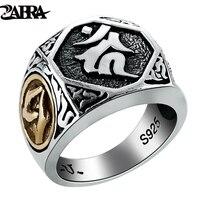 ZABRA Real 925 Sterling Silver Mens Signet Rings Buddha Ring Gold Big Vintage Punk Steampunk Rock Biker Men Silver Jewelry