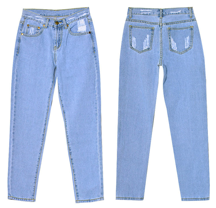 6f6c04bacc9 Jessie Vinson Fashion Scratched Straight Ripped High Waist Jeans ...