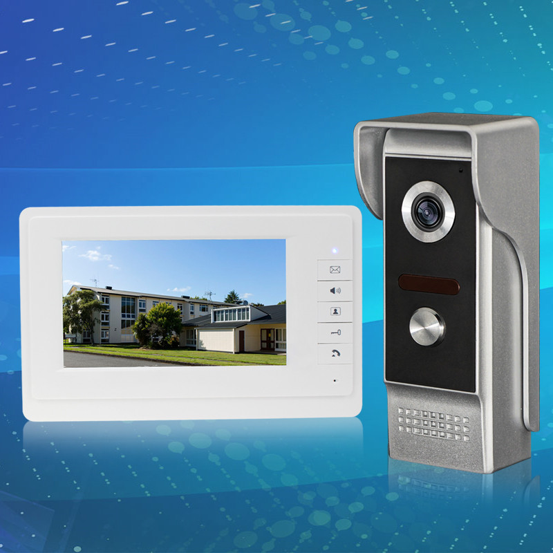 7inch TFT-LCD wired color video door phone monitor screen with IR COMS outdoor camera for intercom system fast shipping 7inch video door phone intercom system for 5apartment tft lcd screen 5 flat indoor monitor with night vision cmos outdoor camera