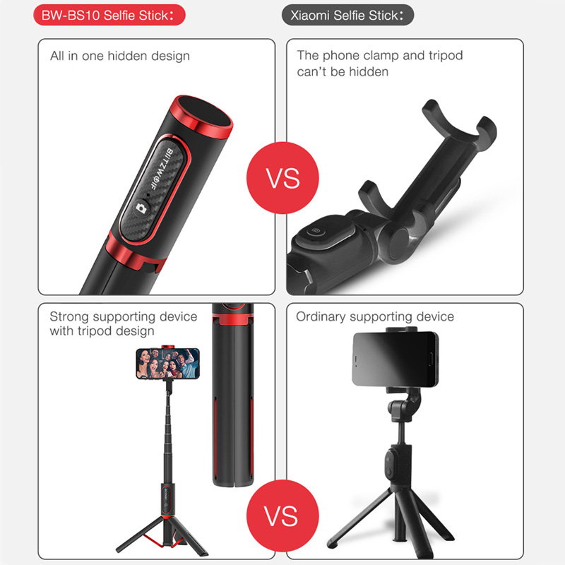 BlitzWolf BW-BS10 Portable bluetooth Selfie Stick with Tripod Extendable Foldable Monopod for iPhone 11 X Huawei Xiaomi Phone