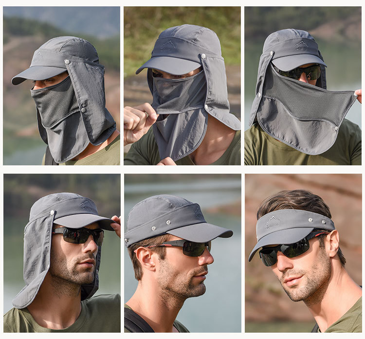 Outdoor Sport Hiking Visor Breathable Hat UV Protection Face Neck Cover Fishing Sun Protect Cap Flap Hat Wide Brim Buckle