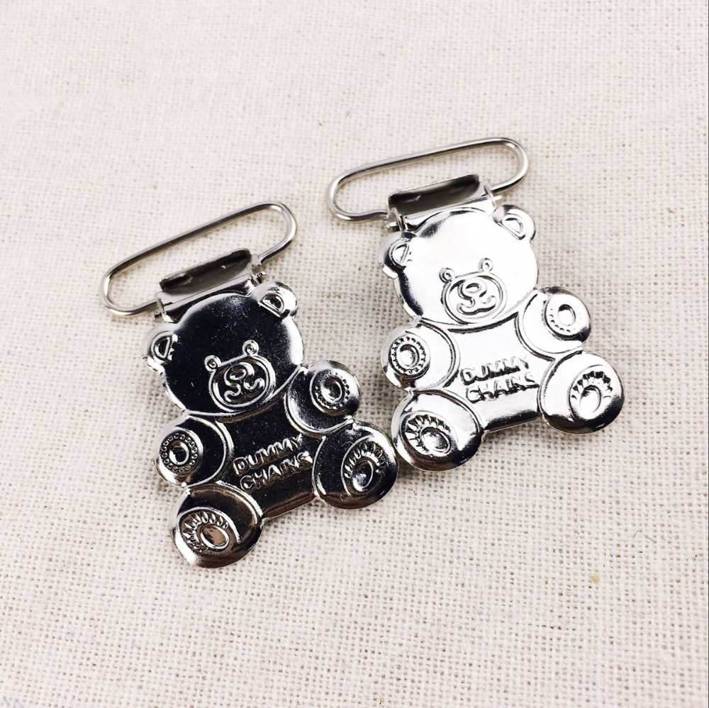10PCS Bear Suspender Clips Baby Nursing Accessories Birth Gift Binky Clip Cute Children DIY Draft Accessories Baby Bites Toys