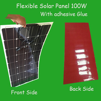 Newly Flexible Solar Panel with direct stick adhesive 100W watt 12V solar panels semi flexible panel monocrystalline solar cell