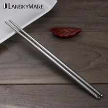 LANSKYWAR 5 Pairs/Set Stainless Steel Chopsticks Set Chinese Non-Slip Reusable Metal Food Sticks Sushi Hashi Baguette