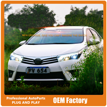 High quality Car Styling for 2014-2015 New Corolla Headlight Altis Led Headlight DRL Lens Double Beam H7 HID Xenon bi xenon lens