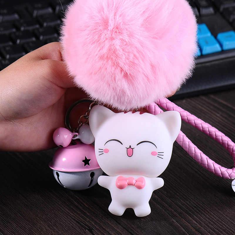 Boneca bonito Dos Desenhos Animados de Animais Gato Keychain Brinquedo da Criança Corda de Couro sinos Anel Chave Acessórios Presente Bugigangas Porte De Pele Pom Pom Clef