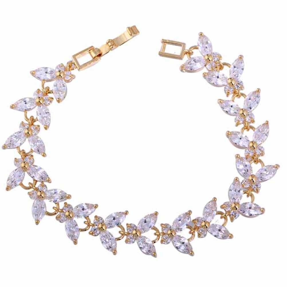 Fashion Women Zircon Deored Gold Bracelet Cuff Bangle