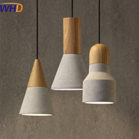 American Country Style Loft Industrial Cement Pendant Lights E27 E26 Socket Droplight Wood Indoor Decoration Hanging
