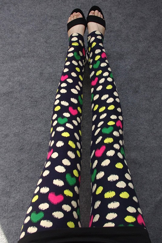 BIVIGAOS Spring Summer Womens Fashion Black Milk Thin Stretch leggings Colored Stars Graffiti Slim Skinny Leggings Pants Female 31