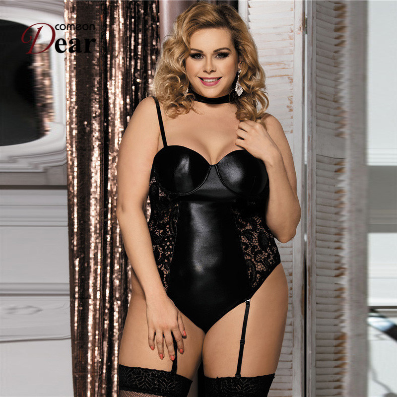 Comeondear Body Lingerie Women Lace Ropa Interior Mujer Sexy Erotica RJ80384 Faux Leather Sexy Lingerie Latex Lingerie Bodysuit