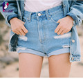 Hot Sell High Quality 2017 Summer Women Jeans Shorts Mid Waist Jeans troesers Loose Style Do The Old Hole Pencil Jeans Shorts
