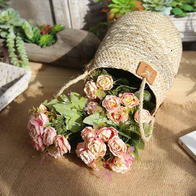 1 pieza 10 decoración de la cabeza Rosa flores artificiales flores de seda Floral látex Real toque Rosa boda ramo hogar fiesta diseño flores