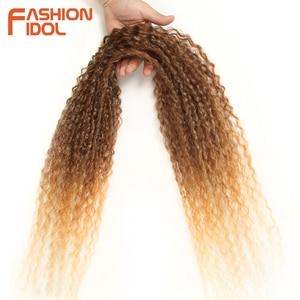 Image 4 - Moda IDOL Afro Kinky kıvırcık saç demetleri 5 adet/paket 24 inç Ombre sarışın doğa siyah renk sentetik saç örgü demetleri fiber