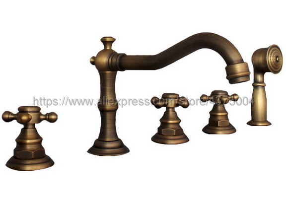 Antique Brass 5pcs Bathroom Tub Sink Faucet with Hand Shower Deck Mounted 5 Holes Three Cross Handles Bathtub Taps Ntf037 antique red copper 5pcs bathroom tub sink faucet with hand shower deck mounted 5 holes three cross handles bathtub taps ttf203