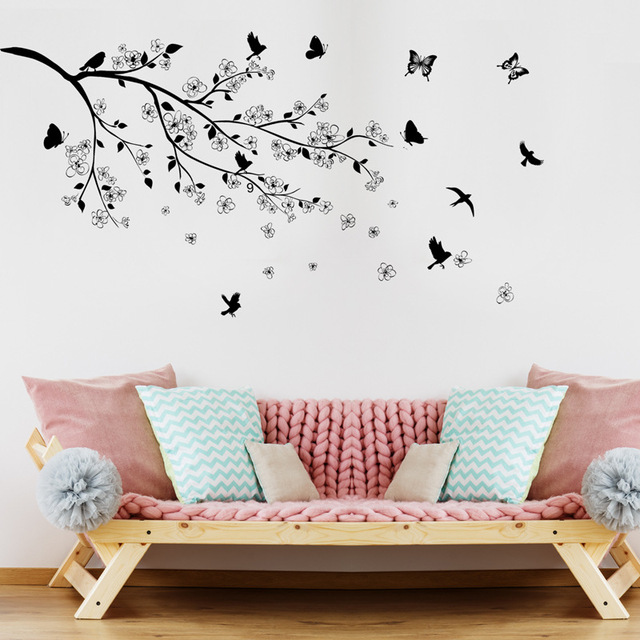 branches birds butterfly wall stickers vinyl diy wall decals for