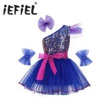 17a0dd66ed19e Lentejuelas niños niñas Jazz danza traje brillante de malla vestido de  Ballet con horquilla pulsera cinturón