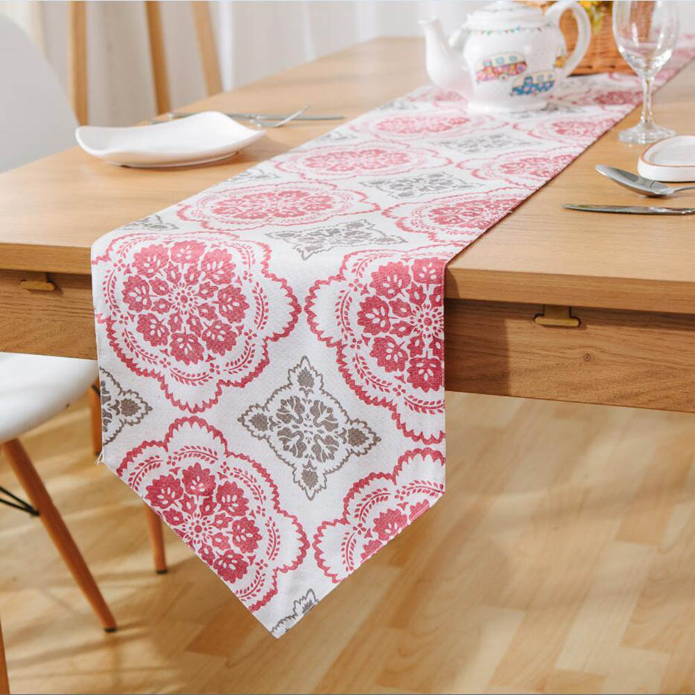 2017 New Arrival High Quality Chinese Traditional Pattern Linen Table  Runners Vintage Red Floral Cloth Table Runner Home Decor