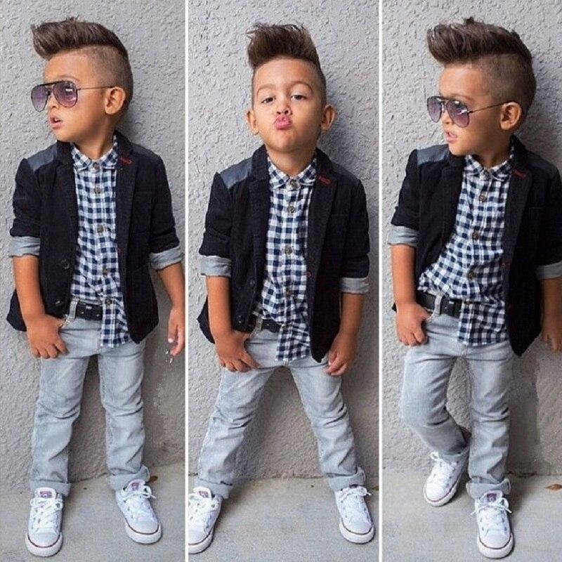 Hooyi Boys 3-Pieces Clothes Suits Children Fashion Set Kids Jacket + Shirt + Jean Baby Boys Outfits Coat Plaid Shirts Trouser