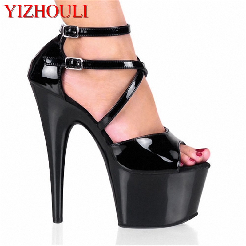 17CM Sexy Super High Heel Sandals Platforms Pole Dance / Performance /Star/Model Shoes, Wedding Dance Shoes 15cm sexy super high heel platforms pole dance performance star model shoes wedding shoes crystal shoes
